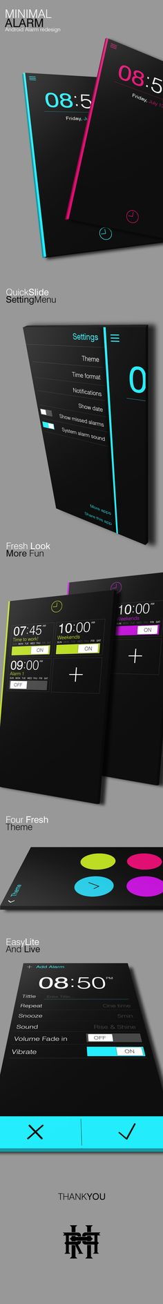 Minimal Alarm - Android Alarm Redesign by Rendy Praditya, via Behance