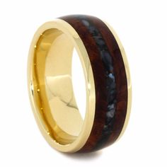 Sea and earth come together in this spectacular 14k yellow gold wedding band. Amboyna burl provides a natural wood grain element while crushed, black ako...