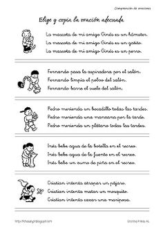 Cositas de AL y PT: Comprensión de oraciones Spanish Language, Kindergarten Activities, Reading Comprehension, Writing, Education, School, French, Study Tips, Texts