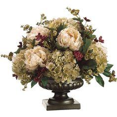 Silk Peony, Hydrangea, and Pompom Rose Floral Arrangement. For mom Peonies And Hydrangeas, Silk Peonies, Hydrangea Flower, Silk Hydrangea, Artificial Floral Arrangements, Faux Flower Arrangements, Peony Arrangement, Artificial Peonies, Faux Flowers