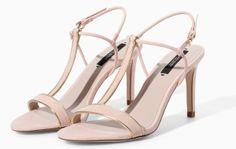 Zara High Heel Sandal With Edging in Nude,
