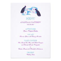 Peacock Wedding Menu Purple, Blue Peacock Wedding Menu Card