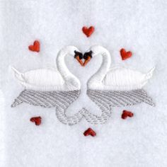 Swans in Love with Reflection machine embroidery design from embroiderydesigns.com