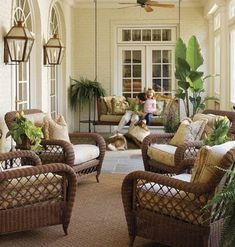 A collected mix of furniture - love this outdoor room!Always decorate your porch as if it's a room in the house. If the colors are different, the porch will stand out, but in a weird way. Outdoor Wicker Furniture, Porch Furniture, Adirondack Furniture, Home Porch, House With Porch, Outdoor Rooms, Outdoor Living, Outdoor Decor, Outdoor Seating