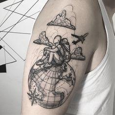 Popular Tattoos and Their Meanings Dream Tattoos, New Tattoos, Tattoos For Guys, Cool Tattoos, Teardrop Tattoo, Atlas Tattoo, Airplane Tattoos, Graffiti Tattoo, Planet Tattoos