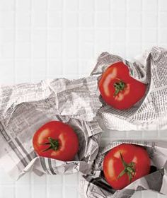 10 uses for newspaper- ripen tomatoes, deodorize food containers- including the refrigerator, kill grass in a garden bed...more