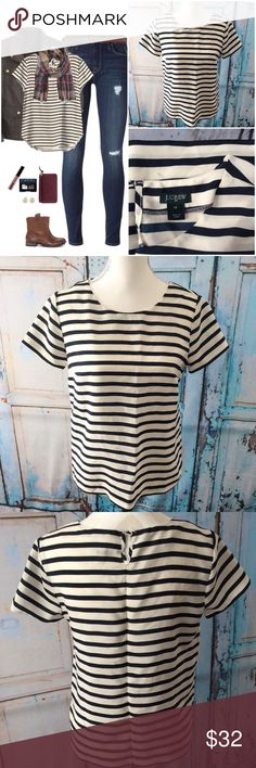 J. Crew Striped Blouse J crew Navy and white striped blouse. Polyester. No stretch, one button neckline closure. J. Crew Tops Blouses