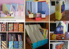 Recicle caixas de cereais e monte lindos porta revistas e organizadores de mesa! Basta encapá-las com papel de presente ou contact!