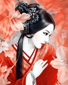 美女 插画手绘 那日花轿匆忙,你泪湿了红装,桃花尽欲宜…
