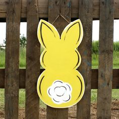 Finished Easter Bunny Door Hanger Yellow