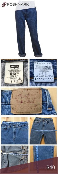 "Levi's - Vintage 512 Slim Fit Straight Mom Jeans Great vintage condition. No flaws except spot on hip. Could be sanded or bleached off if plan to distress. (Sz of Nickel) 5 Pocket Style. 100% Cotton (No Stretch) These have vibrant color and very little wear. High Waisted W/ 11 1/2"" Rise.  *Size 8 Reg Short- 29 1/2"" Inseam Compare to your own jeans for fit or crop them.   Approximate Measurements Laying Flat: (See Photos)  •Pet & Smoke Free Home •No Trades •BUNDLE DISCOUNT  Feel free to make…"