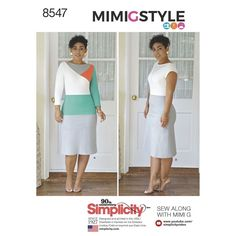 This Misses' and Miss Petite knit dress pattern from Mimi G Style and Simplicity has short or long sleeves, low V-shaped back neckline, and features sheer front inserts and fabric variations.