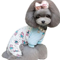 Weixinbuy Small Pet Dog Cat Bear Printed Pajamas Coat Puppy Clothes ApparelBlue XXS ** Click image for more details.
