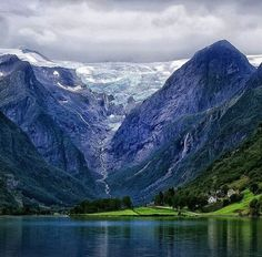 BEAT THE BLUES! When in Scandinavia visit the Briksdalsbreen Glacier in Stryn, Norway. Enjoy spectacular views of the famous glacier, lush valley and the tranquil lake! Photo Credit: Pinterest #norway #glacier #nature #gourmettrails