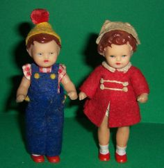 VINTAGE-DOLLS-HOUSE-GERMAN-RUBBER-JOINTED-BOY-AND-GIRL-DOLLS