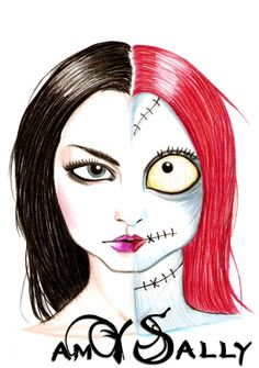 Amy Lee and Sally Skellington by LordeCroowel