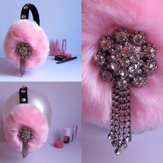 Pink earmuffs beaded faux fur earmuffs OOAK ear by AprilDelouvre