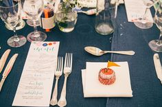 Colorful, ribbon filled Trudder Lodge Wedding by Siobhan Byrne | see all the fun at www.onefabday.com Lodge Wedding, Lodges, Flatware, Cottages, Place Settings, Shun Cutlery, Dinnerware, Table Place Settings