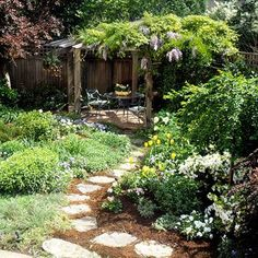 The highlight of this small landscape is a pergola draped with wisteria. Placing the pergola in the back corner of the yard gives you -- and your eye -- a destination, which helps make it feel more spacious. From Better Homes and Gardens. Small Gardens, Outdoor Gardens, Modern Gardens, Landscape Design, Garden Design, Easy Garden, Box Garden, Garden Path, Garden Beds