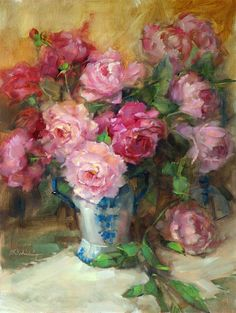 'Peonies in blue and white vase' by Barbara Schilling Oil ~ Painting♥✿♥ Oil Painting Flowers, Painting & Drawing, Rose Paintings, Art Floral, Illustration Art, Illustrations, Still Life Art, Beautiful Paintings, Art Oil