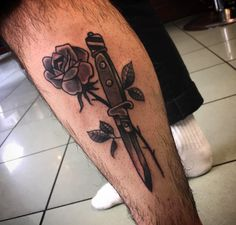 Beautiful black & grey traditional rose & dagger by Miss Araceli Forever. Done at Kings Cross Tattoo Parlour
