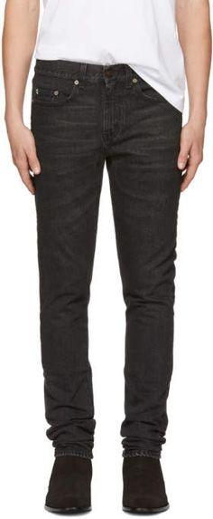Saint Laurent for Men Collection Slim Jeans, Skinny Jeans, Saint Laurent Jeans, Skinny Guys, Low Rise Jeans, Black Star, Black Denim, Mens Fashion, Guy Style