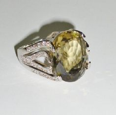 NEW Fashion 18k White Gold Filled Ring Austrian Crystal Smoky Sage Green 9 #Unbranded #Cocktail