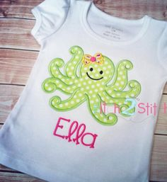 Adorable Octopus Applique Shirt or dress for by LeonaBEmbroidery, $25.00