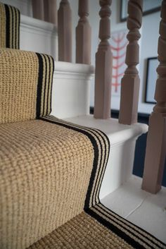 How to achieve your perfect stair runner - The Frugality Carpet Staircase, Staircase Runner, Stairs With Carpet Runner, Striped Carpet Stairs, Coastal Living Rooms, Rugs In Living Room, Sisal Stair Runner, Stair Runners, Flur Design