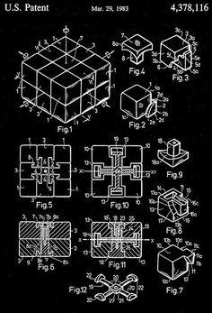 1983 - Rubik's Cube Toy - E. Rubik - Patent Art Poster