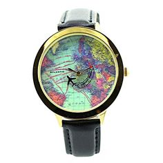 Fq001 Airplane World Map Design Pu Leather Strap Womens Quartz Fashion Causal Wrist Watches Black >>> To view further for this item, visit the image link.Note:It is affiliate link to Amazon.