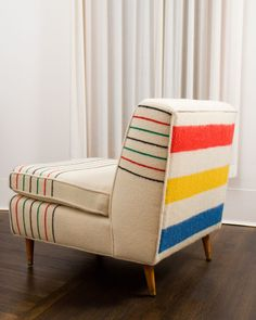 four point hudson bay blanket (or look-alike) used to upholster Mid-Century Sofa Chair Cool Furniture, Modern Furniture, Furniture Design, Chair Design, Furniture Ideas, Futuristic Furniture, Furniture Vintage, Plywood Furniture, Upcycled Furniture