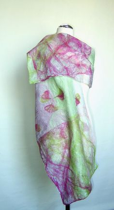 Felted light green yellow lemon shawl scarf felting wool silk luxury cape pearly luster chic wedding bridesmaid idea for her