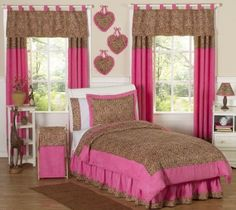 Amazon.com: Cheetah Girl Pink And Brown Teen Bedding 3pc Full / Queen Set