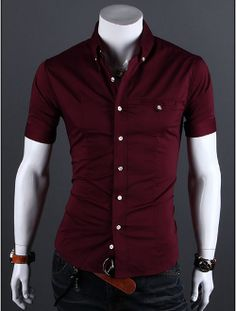 """Men's Short Sleeve Button Shirt with Striped Details"""