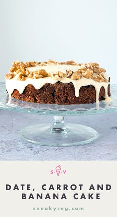 A healthier carrot cake, sweetened with dates and bananas. This date, carrot and banana cake is perfect for any occasion when you want a sweet treat without too much sugar.
