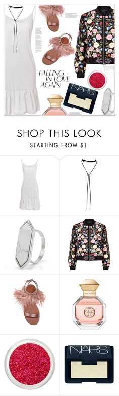 """""""Falling in...."""" by mycherryblossom ❤ liked on Polyvore featuring Needle & Thread, Miu Miu, Tory Burch and NARS Cosmetics"""