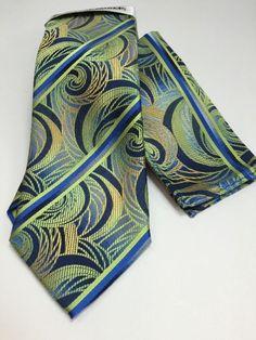Stacy Adams Tie & Hanky Set Green Yellow Royal & Navy Blue with Orange Men's New #StacyAdams #TieHankySet