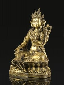 CHINESE TIBETAN GOLD GILD BRONZE BUDDHA 24 CM, GOLD PLATING, ON THE HEAD BLUE PIGMENT, SCULPTURE COST ONE PIECE WITH THE PEDESTAL, THE BUDDHA END OF 18TH EARLY 19TH CENTURY. weight 4,100 kg - See more at: http://www.asiakingart.com/?p=178#sthash.sKBoshko.dpuf