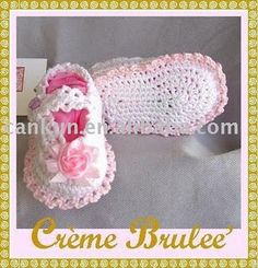 love these shabby chic style crochet infant shoes