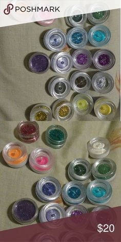 Eye glitter 21 colors for face and eyes. Don't need glue. Just apply and go. Makeup Eyeshadow