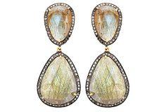 One Kings Lane - Trend Spotting - Two-Stone Triangle Earrings w/ Diamonds.