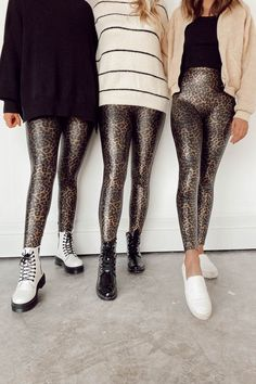 Faux Leather Leopard Leggings bring out your wild side! Featuring the Spanx contoured Power Waistband, this style gives you a flat gut and great butt. Leopard Leggings Outfit, Tights Outfit, Leopard Pants, Plus Size Legging Outfits, Plus Size Leggings, Spanx Faux Leather Leggings, Shiny Leggings, Animal Print Tights, Animal Prints