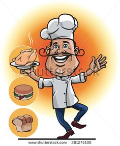 mascot a chef or cook with roasted chicken in his hand and the two other options, namely bread and burgers. - stock vector