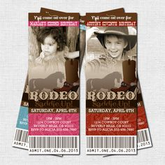 WESTERN TICKET INVITATIONS Rodeo Cowboy or Cowgirl Birthdy Party - (print your own) Personalized Printable. $9.00, via Etsy.