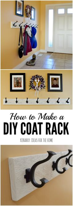 Garderobe: Eine einfache Idee für die Wandmontage mit Haken Love this idea for a DIY coat rack! It is so easy to make one yourself to hang on the wall by your front door or entry way using this step-by-step tutorial. Entry Coat Rack, Diy Coat Rack, Coat Hanger, Coat Racks, Diy Purse Rack, Diy Coat Hooks, Purse Hanger, Storage Hooks, Hanger Rack