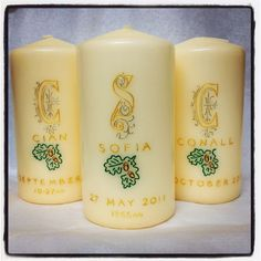 Engraved and painted Naming candles also suitable for christening personalised christening/communion/confirmation candles also available. www.candledesigns.ie First Communion, Confirmation, Pillar Candles, Christening, First Holy Communion, Candles