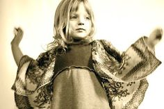 #NixieClothing #KidsFashion snuggly wool dress with delicate sleeves created from #vintage #silk #scarves