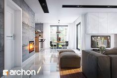 Dom w srebrzykach - Strefa dzienna - zdjęcie od ARCHON+ Biuro Projektów - Salon - Styl Nowoczesny - ARCHON+ Biuro Projektów