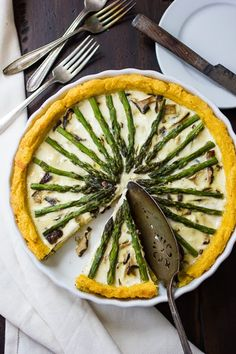 The Bojon Gourmet: Asparagus and Shiitake Mushroom Tart with Polenta Crust #vegetarian #recipe